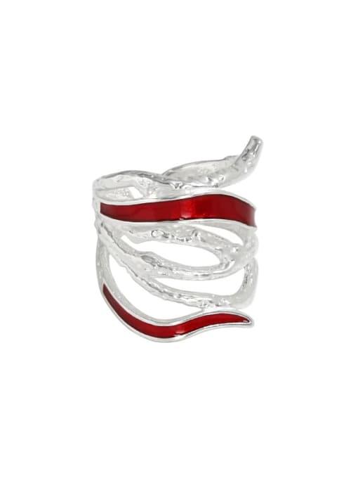 Silver [14 adjustable] 925 Sterling Silver Enamel Geometric Vintage Stackable Ring